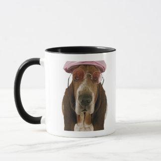 Basset hound in sunglasses and cap mug