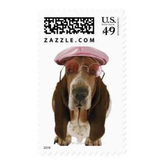 Basset hound in sunglasses and cap postage stamp