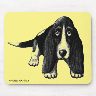 Basset hound ink pen drawing art mouse pad