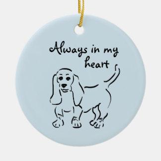 Basset Hound Keepsake - Customized Pet Loss Ceramic Ornament