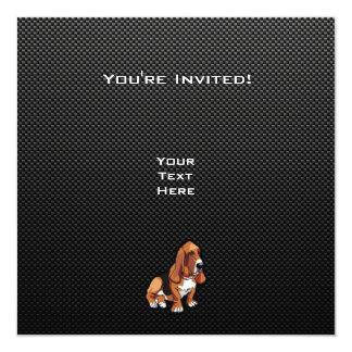 "Basset Hound liso Invitación 5.25"" X 5.25"""