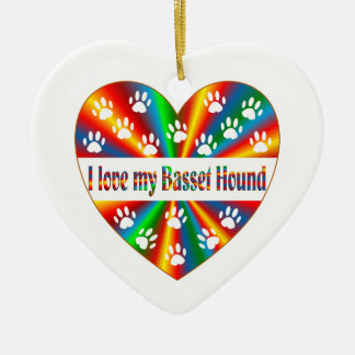 Basset Hound Love Ceramic Ornament