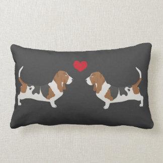 Basset Hound love - cute valentines basset hounds Lumbar Pillow