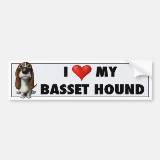Basset Hound Love Sticker Car Bumper Sticker