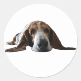 Basset Hound lying down Classic Round Sticker