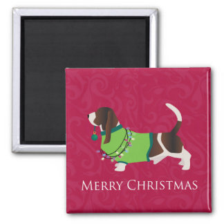 Basset Hound Merry Christmas Design 2 Inch Square Magnet