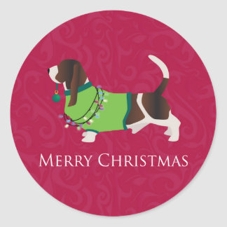 Basset Hound Merry Christmas Design Classic Round Sticker