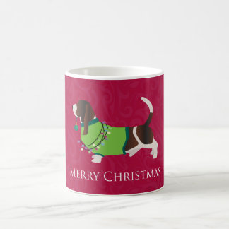 Basset Hound Merry Christmas Design Coffee Mug