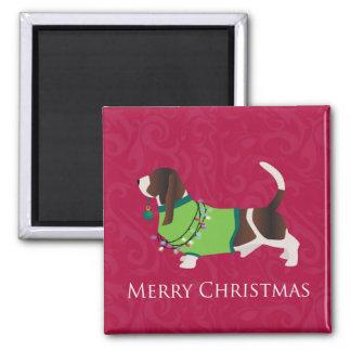 Basset Hound Merry Christmas Design Magnet