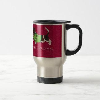 Basset Hound Merry Christmas Design Travel Mug
