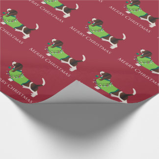 Basset Hound Merry Christmas Design Gift Wrapping Paper