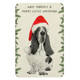 Basset Hound Merry Little Christmas Magnet