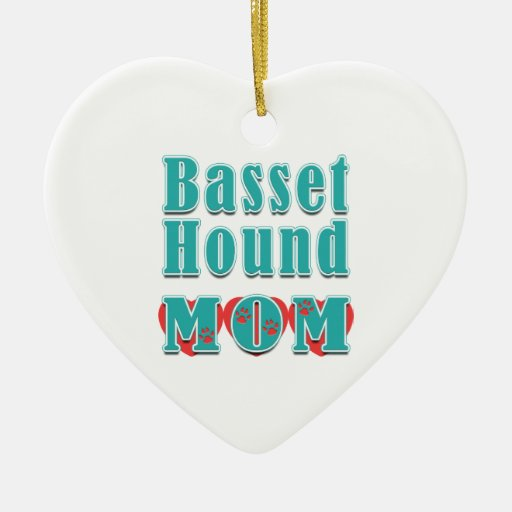 Basset Hound Mom Hearts Double-Sided Heart Ceramic Christmas Ornament