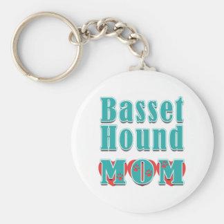 Basset Hound Mom Hearts Keychains
