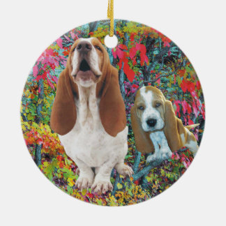 Basset Hound Mom & Puppy Autumn Woods Ceramic Ornament