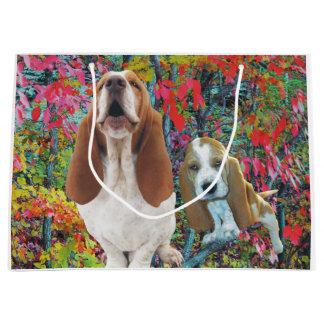 Basset Hound Mom & Puppy Autumn Woods Large Gift Bag