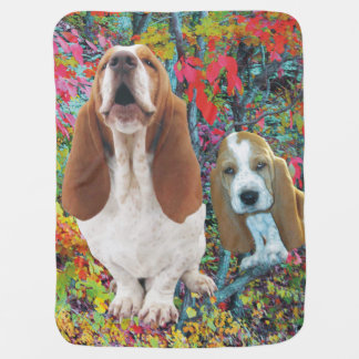 Basset Hound Mom & Puppy Autumn Woods Stroller Blanket
