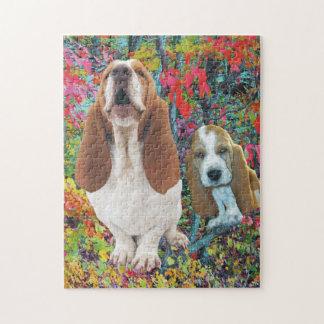 Basset Hound Mom & Puppy in Autumn Jigsaw Puzzle