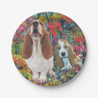 Basset Hound Mom & Puppy Paper Plate