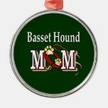 Basset Hound Mom Round Metal Christmas Ornament