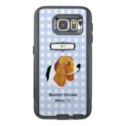 Basset Hound, Monogramed on Blue Gingham S6 OtterBox Samsung Galaxy S6 Case