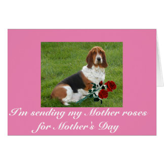 Basset Hound Mother's Day card with roses
