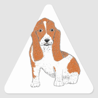 Basset Hound multiple Products Triangle Sticker