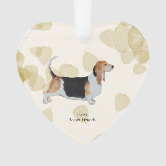 Basset Hound on Tan Leaves