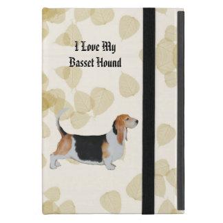 Basset Hound on Tan Leaves iPad Mini Cover
