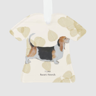 Basset Hound on Tan Leaves Ornament