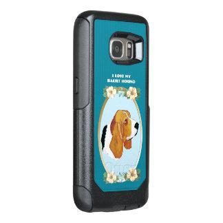 Basset Hound on Teal Floral OtterBox Samsung Galaxy S7 Case