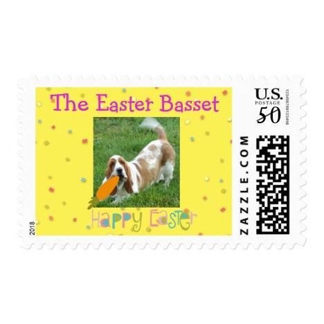 Basset Hound on U.S. postage stamp for Easter