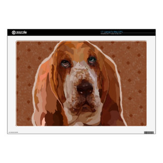 """Basset Hound Painting for Lap Top 17"""" Laptop Decals"""