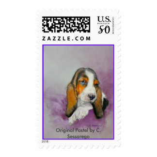 Basset Hound Pastel Art Dog Animal Pet  Child Home Postage