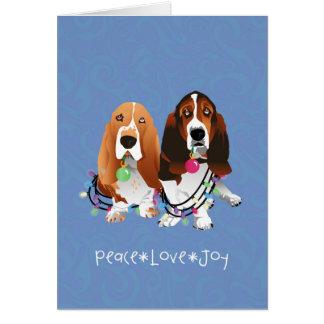 Basset Hound Peace Love Joy Christmas Design Card