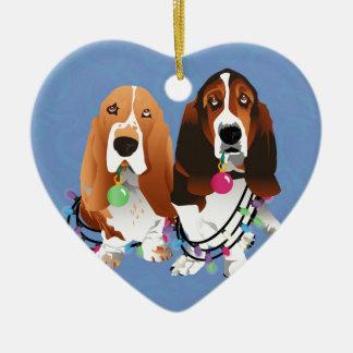 Basset Hound Peace Love Joy Christmas Design Ceramic Ornament