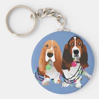 Basset Hound Peace Love Joy Christmas Design Keychain