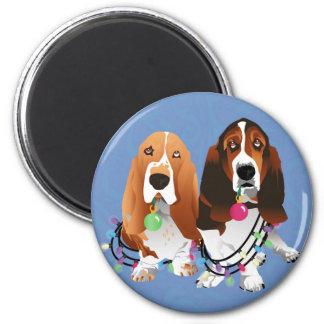 Basset Hound Peace Love Joy Christmas Design Magnet