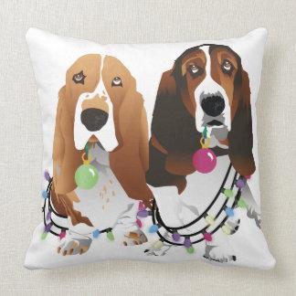 Basset Hound Peace Love Joy Christmas Design Throw Pillow