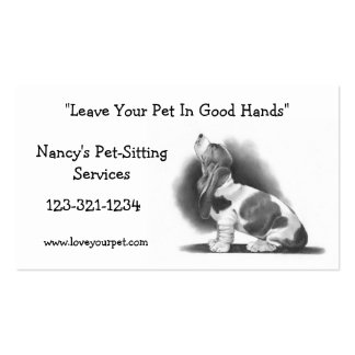 BASSET HOUND: PET SITTING BUSINESS CARD: PENCIL