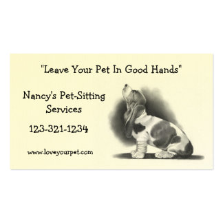 BASSET HOUND: PET SITTING BUSINESS CARD: PENCIL BUSINESS CARD
