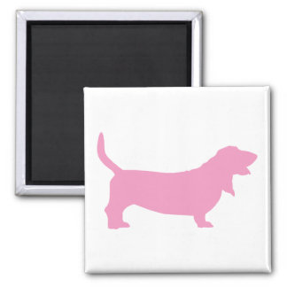 Basset Hound (pink) 2 Inch Square Magnet