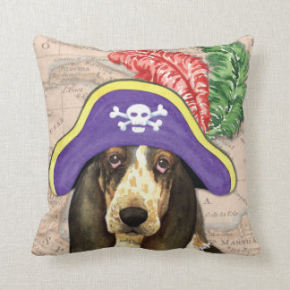 Basset Hound Pirate Throw Pillows