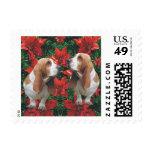 Basset Hound Poinsettia Christmas Stamp