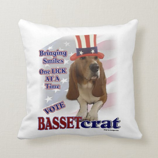 Basset Hound Political Humor Throw Pillow