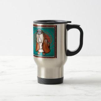 Basset Hound Pop Art Abstract  Glitter Name 15 Oz Stainless Steel Travel Mug