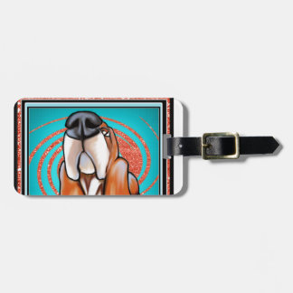 Basset Hound Pop Art Abstract  Glitter Name Luggage Tag