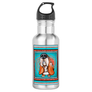 Basset Hound Pop Art Abstract  Glitter Name Water Bottle