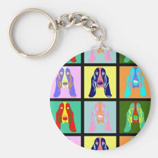 Basset Hound Pop Art Basic Round Button Keychain