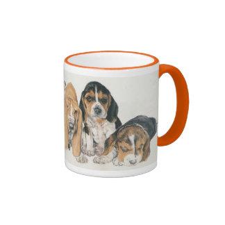 Basset Hound Puppies Ringer Mug
